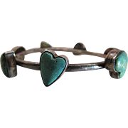 Vintage Joan Slifka Southwestern Silver And Turquoise Heart Bangle Bracelet - 8-Inches