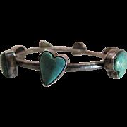 Vintage Joan Slifka Southwestern Silver And Turquoise Heart Bangle Bracelet - 8-Inches