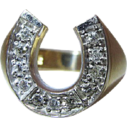 Vintage 14K Gold Diamond Lucky Horseshoe Ring - Size 8.5