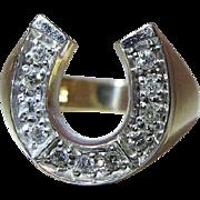 Vintage 14K Gold Diamond Lucky Horseshoe Ring - Size 8.5