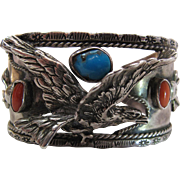 Dramatic Vintage Navajo Silver Eagle Bracelet With Turquoise And Coral