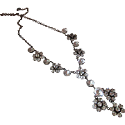 Extravagant Antique Edwardian Sterling Silver And Paste Pendant Necklace