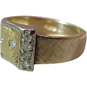 1960's Vintage 14K Yellow Gold And Diamond Buckle Ring