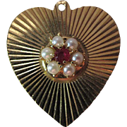 Large 1960's 14K Yellow Gold Heart Charm With Ruby And Cultured Pearls