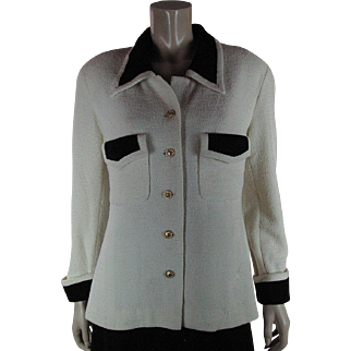 1980's Vintage Chanel Black And Creamy White Boucle Jacket