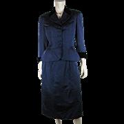 1940's Vintage Adele Simpson Blue Silk Faille And Black Velvet Skirt Suit