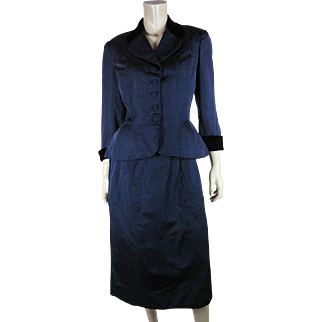 1940's Vintage Adele Simpson Blue Silk Faille And Black Velvet Skirt Suit
