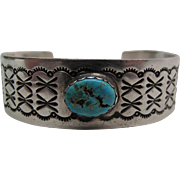 Vintage Robert Yellowhorse Navajo Sterling Silver And Turquoise Cuff Bracelet