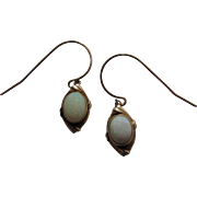 Lovely 14K Yellow Gold One Carat Opal Dangle Earrings With French Wires