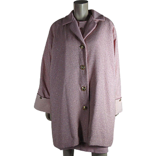 Vintage Circa 1990 Versace Atelier Beaded Pink Coat And Dress Ensemble