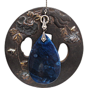 Art Deco Vintage 30 Inch Sterling Silver And Blue Agate Lorgnette Chain Pendant Necklace