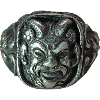 Fine Antique Japanese Silver Ring With Noh Masks
