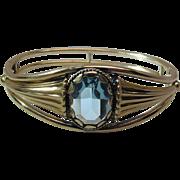 Vintage Simmons Gold Filled Art Nouveau Style Hinged Bangle Bracelet With Aquamarine Glass