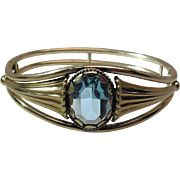 Vintage Simmons Gold Filled Art Nouveau Style Hinged Bangle Bracelet With Aquamarine Glass