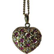 Lacy 14K Yellow Gold Basketweave Puffy Heart Charm Pendant With Rubies And Diamonds