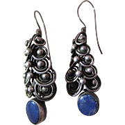 Exotic Vintage Silver And Blue Opal Earrings With French Wires