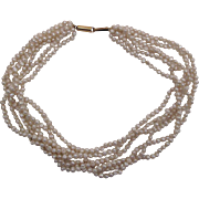 Vintage 14K Gold Six Strand Freshwater Pearl Choker Necklace