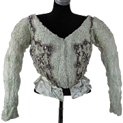 Grand Antique Victorian Beaded Celadon Green Silk Ball Gown Bodice