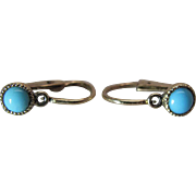 Diminutive Antique Victorian 14K Gold Persian Turquoise Earrings With Hinged Wires
