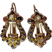 Grand Antique Victorian 14K Gold Sapphire Diamond And Pearl Earrings With Hinged Wires
