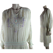 1920's Vintage Hungarian Embroidered And Smocked Yellow Cotton Peasant Dress In Larger Size