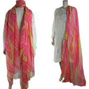 Large And Colorful Art Deco Era Printed Silk Chiffon Shawl