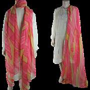 Large And Colorful Art Deco Era Printed Silk Chiffon Shawl