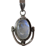 Arts & Crafts Style Sterling Silver Pendant With Lively 10 Carat Moonstone