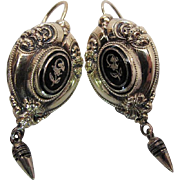Antique Victorian Enameled Gold Filled Earrings With Hinged Ear Wires
