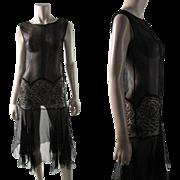 Flirty 1920's Black Silk Chiffon And Rose Pattern Lace Evening Dress