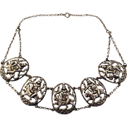 Antique Anglo-Indian Figural Silver Station Necklace