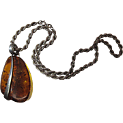 Mid-Century Modern Sterling Silver And Amber Pendant Necklace