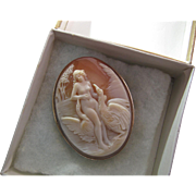 Vintage Early 20Th Century 12K Yellow Gold Cameo Pendant Brooch In Original Italian Box