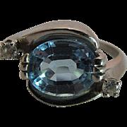 Vintage 14K White Gold Blue Topaz And Diamond Ring
