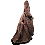 Antique Victorian Silk And Velvet One Piece Bustle Gown With Train