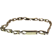 """Vintage 8 1/2-Inch Long 14K Gold Unisex """"I.D."""" Bracelet"""