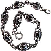 Antique Victorian Sterling Silver And Black And White Banded Agate Line Bracelet