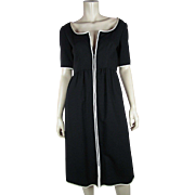 1970's Oscar de La Renta Boutique Black And White Front Zipper Dress