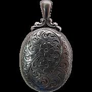 Antique Victorian Carved Sterling Silver Locket