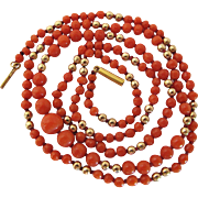 Antique 14K Gold Bead Graduated Red Coral Bead 27-Inch Necklace