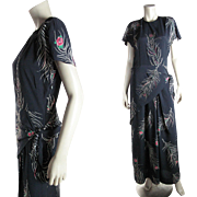1940's Vintage Draped Printed Rayon Dress With Beads, Rhinestones And Sequins