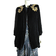 1940's Retro Vintage Black Silk Evening Jacket With Gold Sequins And Bishop Sleeves