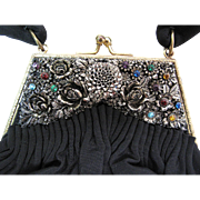 1940's K & G Charlet Black Silk Faille Evening Bag With Rhinestones