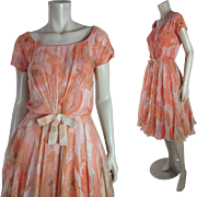 Flirty 1950's Silk And Printed Silk Chiffon Party Dress By Marjorie Michael