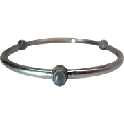 Vintage Modernist Sterling Silver And Moonstone Oversized Bangle Bracelet
