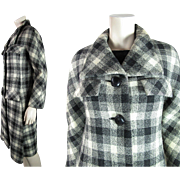1960's Vintage Pierre Cardin Gray Scale Plaid Tweed Coat