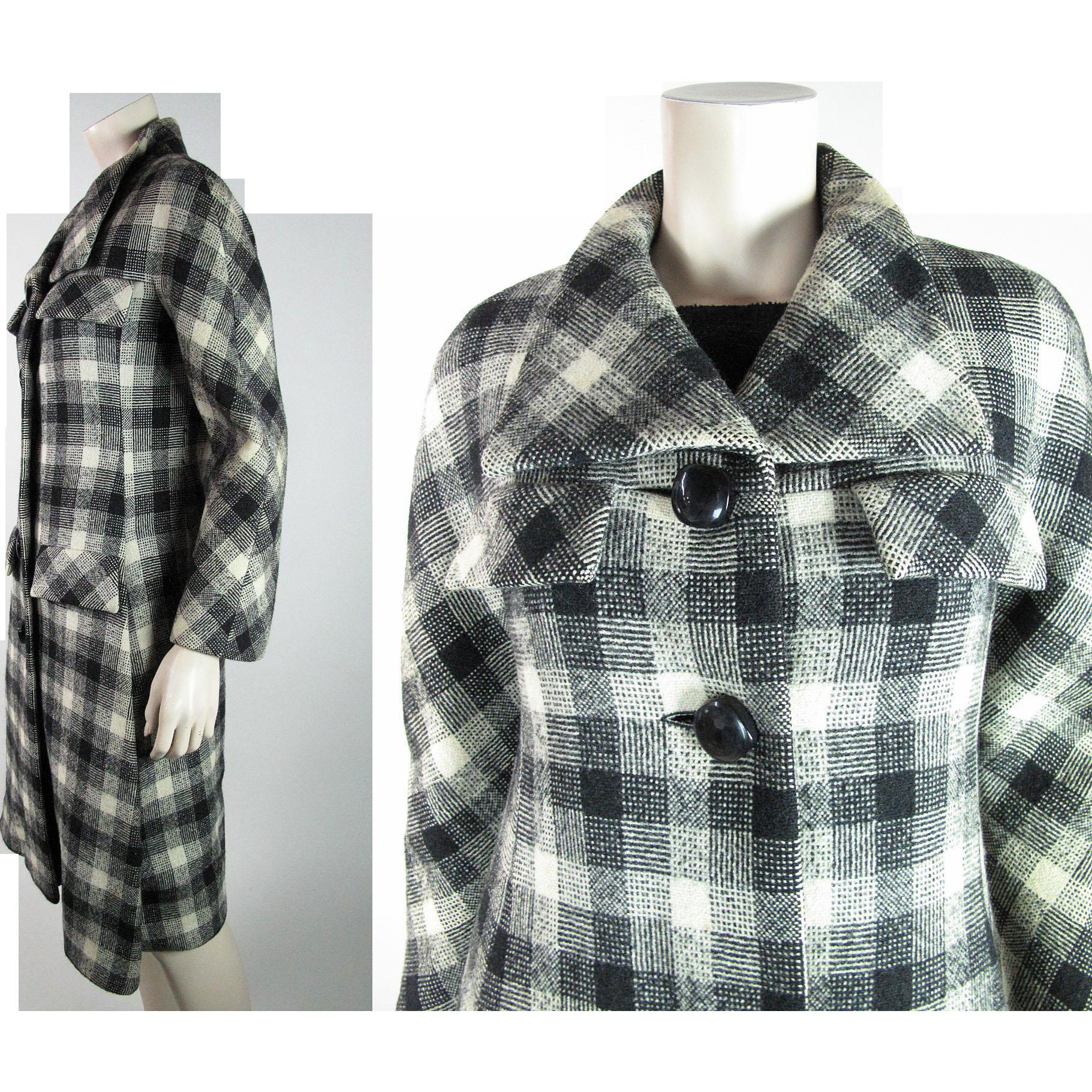 1960's Vintage Pierre Cardin Gray Scale Plaid Tweed Coat