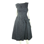 Smart 1960's French Little Black Bouclé Dress With Simone Robin Paris Label
