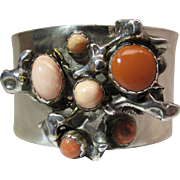 Dramatic Vintage Sterling Silver Red And Pink Coral Modernist Cuff Bracelet