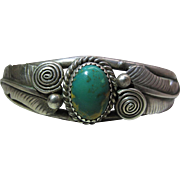 Vintage Navajo Sterling Silver And Green Turquoise Cuff Bracelet Signed AM